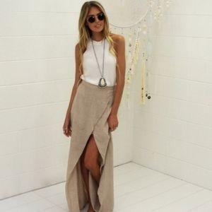 Girl &The Sun Linen high low maxi skirt